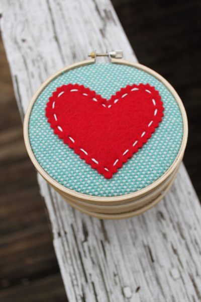 Embroidery Hoop Art for Valentines Day
