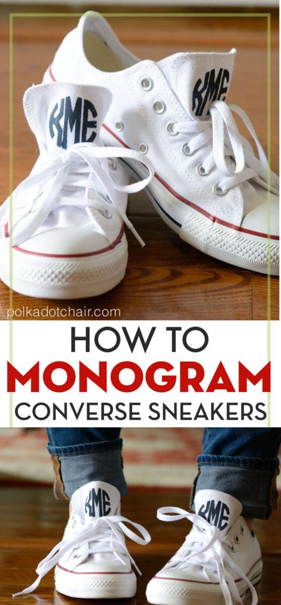 Monogrammed Converse sneakers on floor