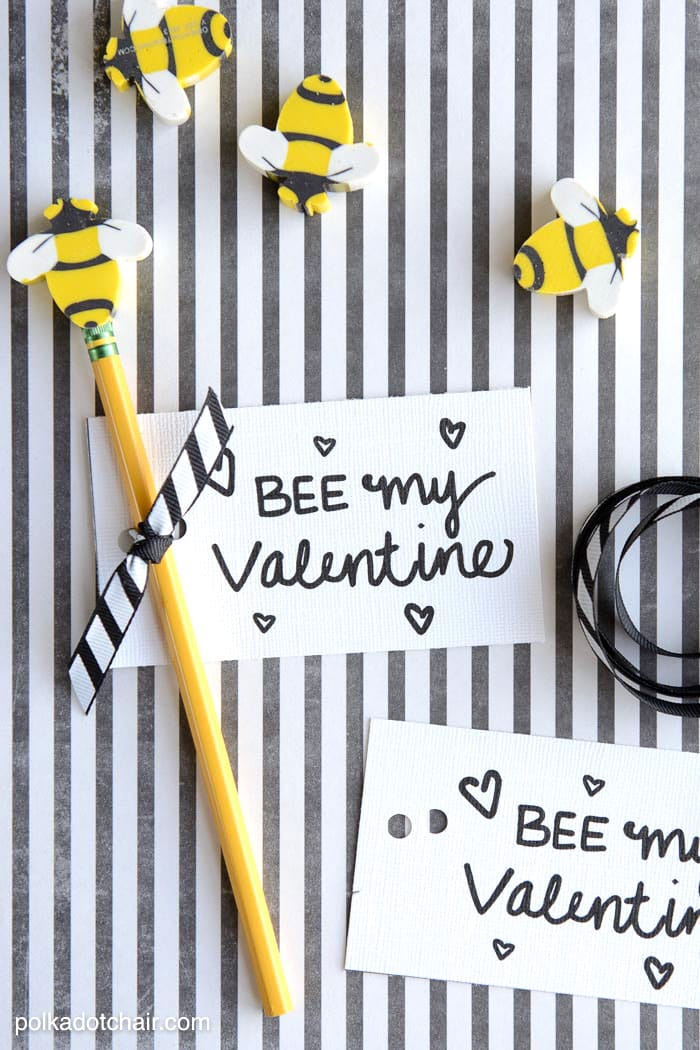 """Bee"" My Valentine - a cute non-candy Valentine's Day idea - there is a free printable for it on this site"