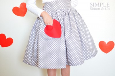 Sweetheart Skirt, cute kids clothing sewing project for Valentines Day