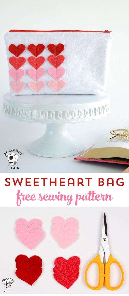 Free Sewing Pattern for a Sweetheart Zip Pouch - a cute Valentine's Day Sewing Project or Craft idea
