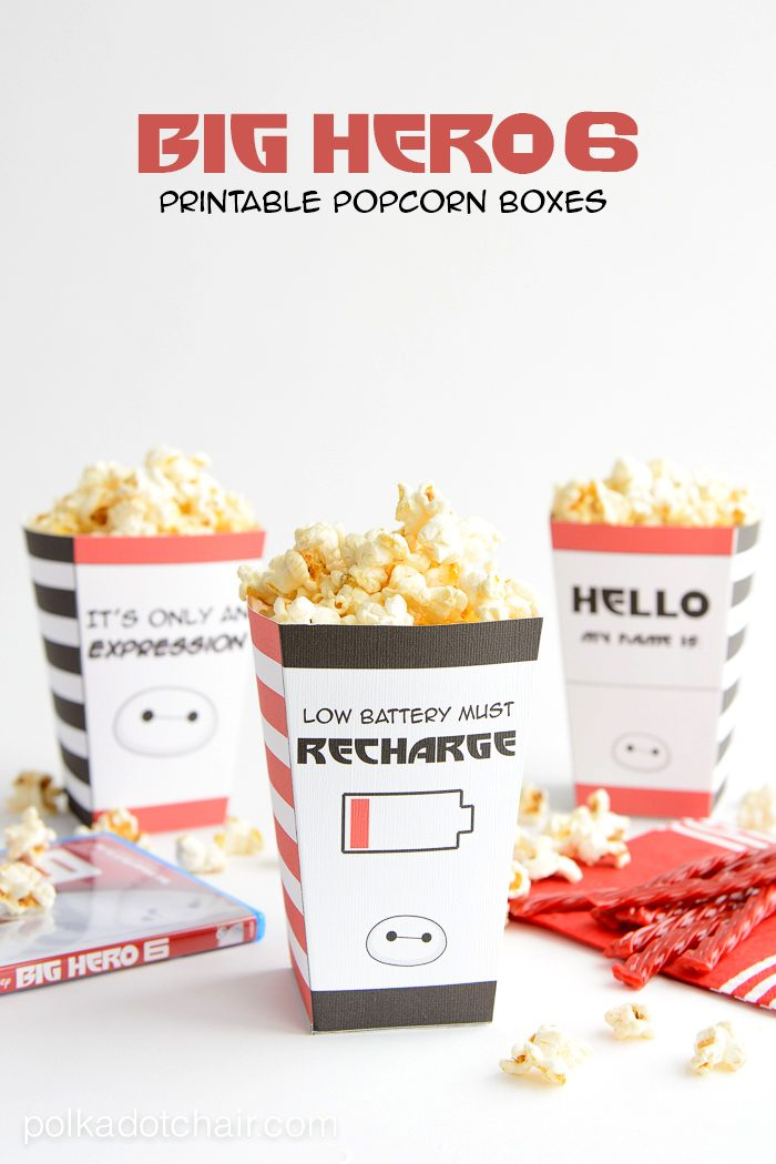 image about Popcorn Box Printable known as Significant Hero 6 Printable Popcorn packing containers for Family members Video clip Evening