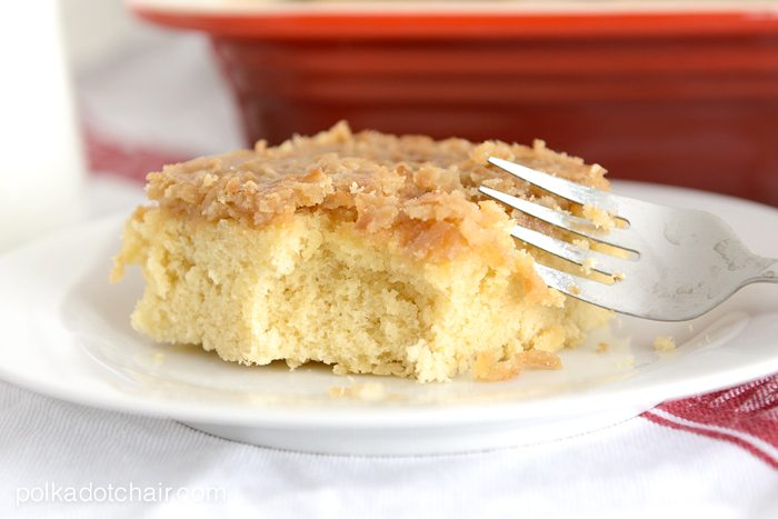 Hot Milk Cake Recipe with Coconut Caramel Topping