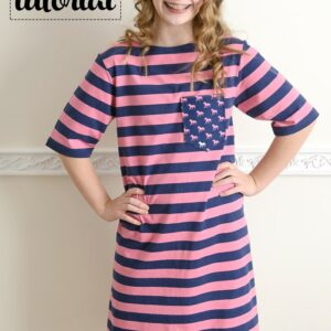Sewing Tutorial to make a simple knit T-Shirt dress by Melissa Mortenson of PolkadotChair.com