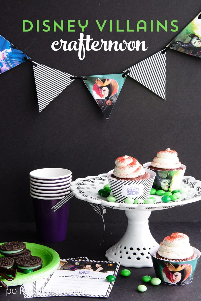 Party Ideas for a Disney Villain Themed Crafternoon with links to free printable Disney Side party supplies