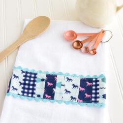 DIY Embellished Dish Towel tutorial by Melissa of polkadotchair.com