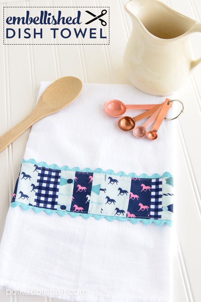 DIY Embellished Dish Towel tutorial by Melissa of polkadotchair.com