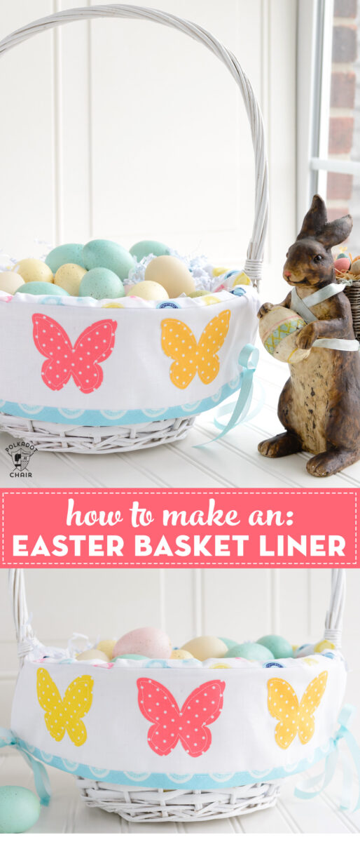 Easter basket liner in white basket on table with rabbit figurine