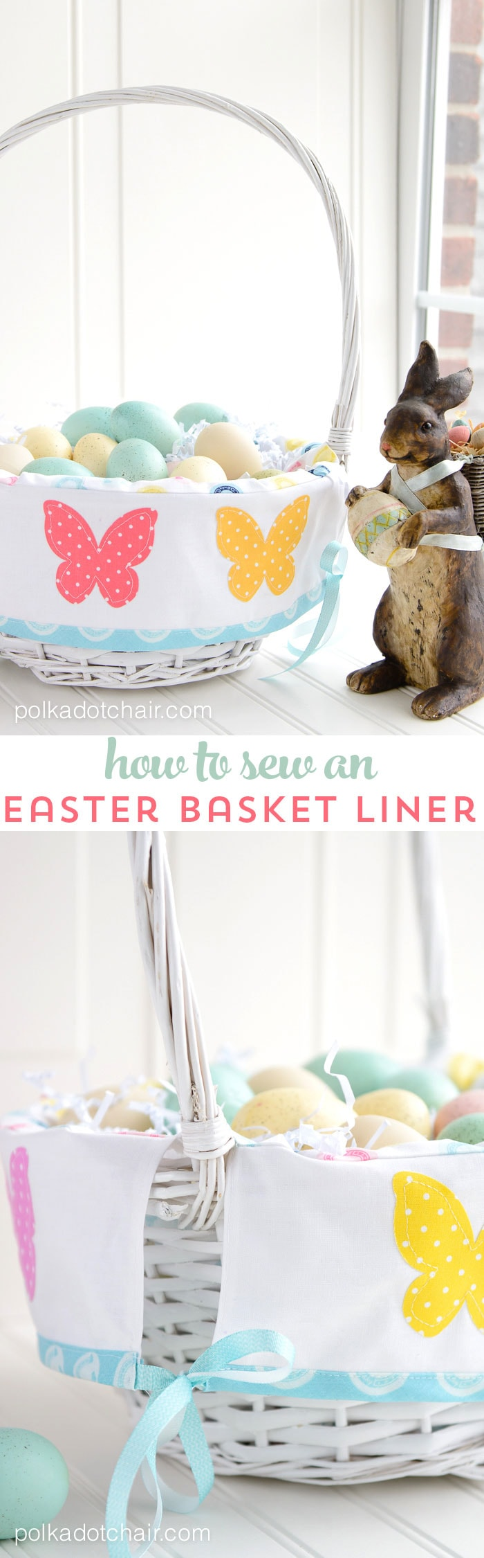 Learn how to easily sew a custom liner for an Easter Basket