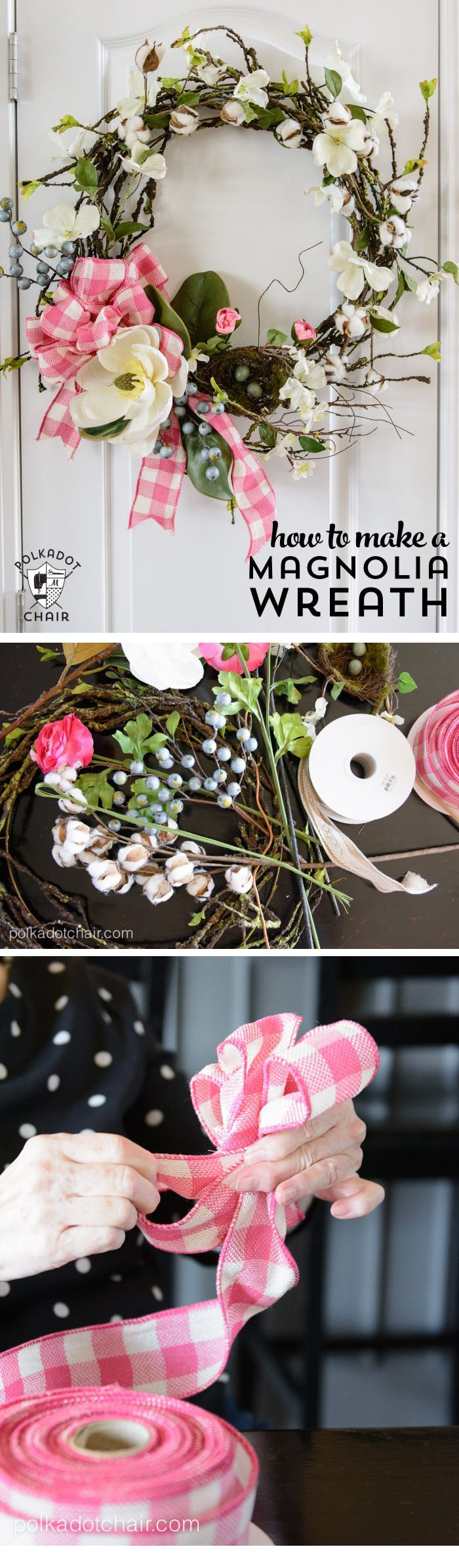 Make A Spring Wreath For Your Front Door With This DIY Magnolia Wreath  Tutorial. #
