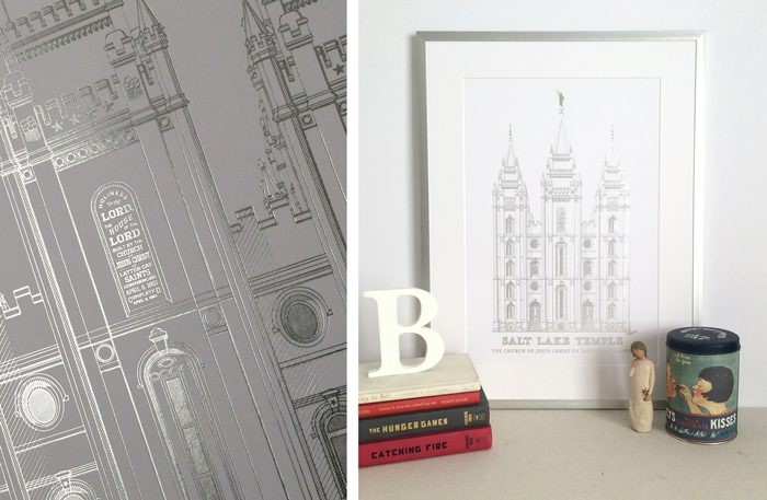 Beautiful Foil Print of the Salt Lake Temple by Whitefield Designs