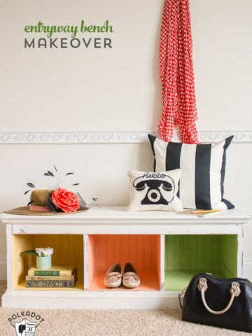 How to paint furniture using Chalky Finish paint. A colorful DIY makeover for an entryway bench!