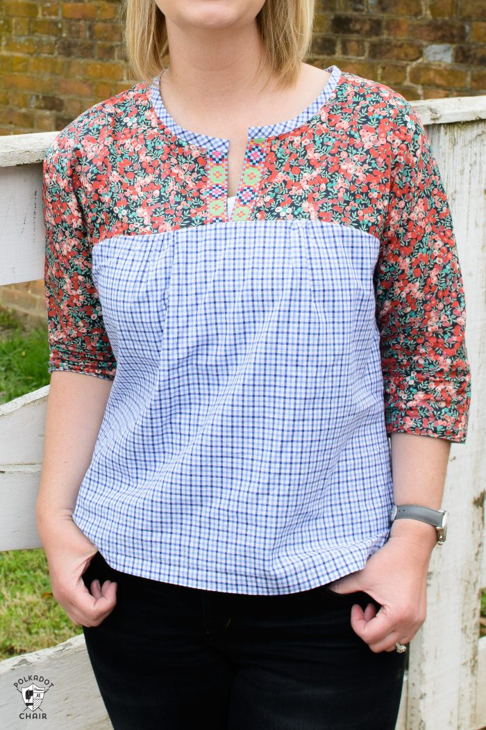 The Well composed blouse Sewing pattern by Anna Maria Horner sewn with Liberty of London fabric