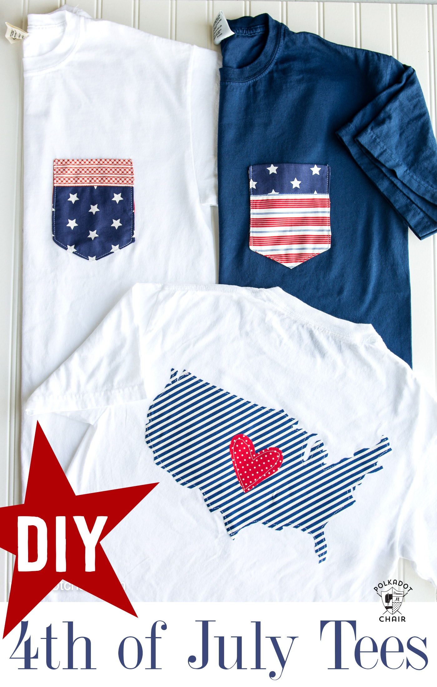 DIY Pocket Tee for the 4th of July - includes templates for the pocket and outline of the USA