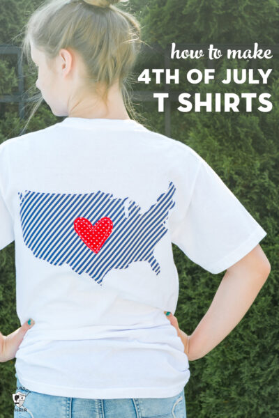White 4th of july shirt with blue USA outline