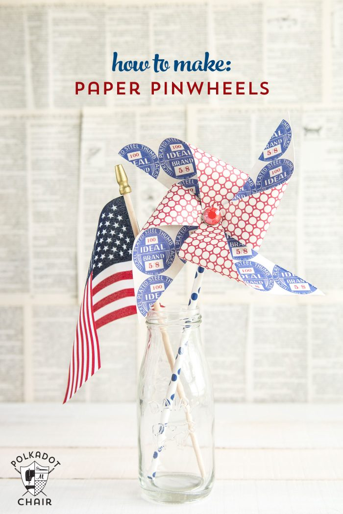 Cute tutorial on how to make a paper pinwheels using a paper straw. Great craft idea to decorate for the 4th of July.