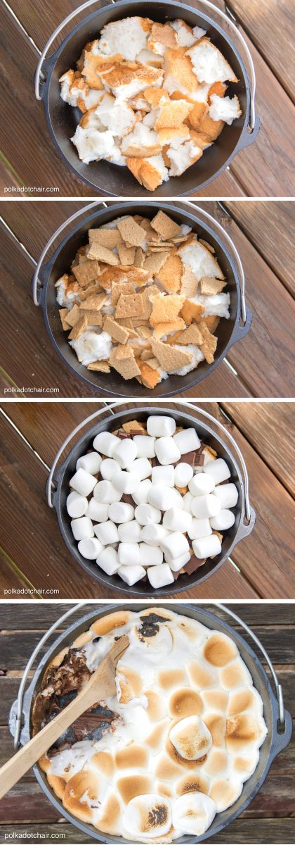 10-Minute Dutch Oven S'more Cake Recipe | Dutch Oven Recipes For Cooking Outdoors