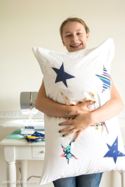 Kids Beginner Sewing Project, a custom appliqued pillowcase, would be a great summer boredom buster