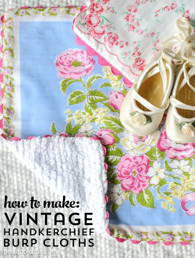 Sewing tutorial showing how to make baby burp cloths from vintage hankies