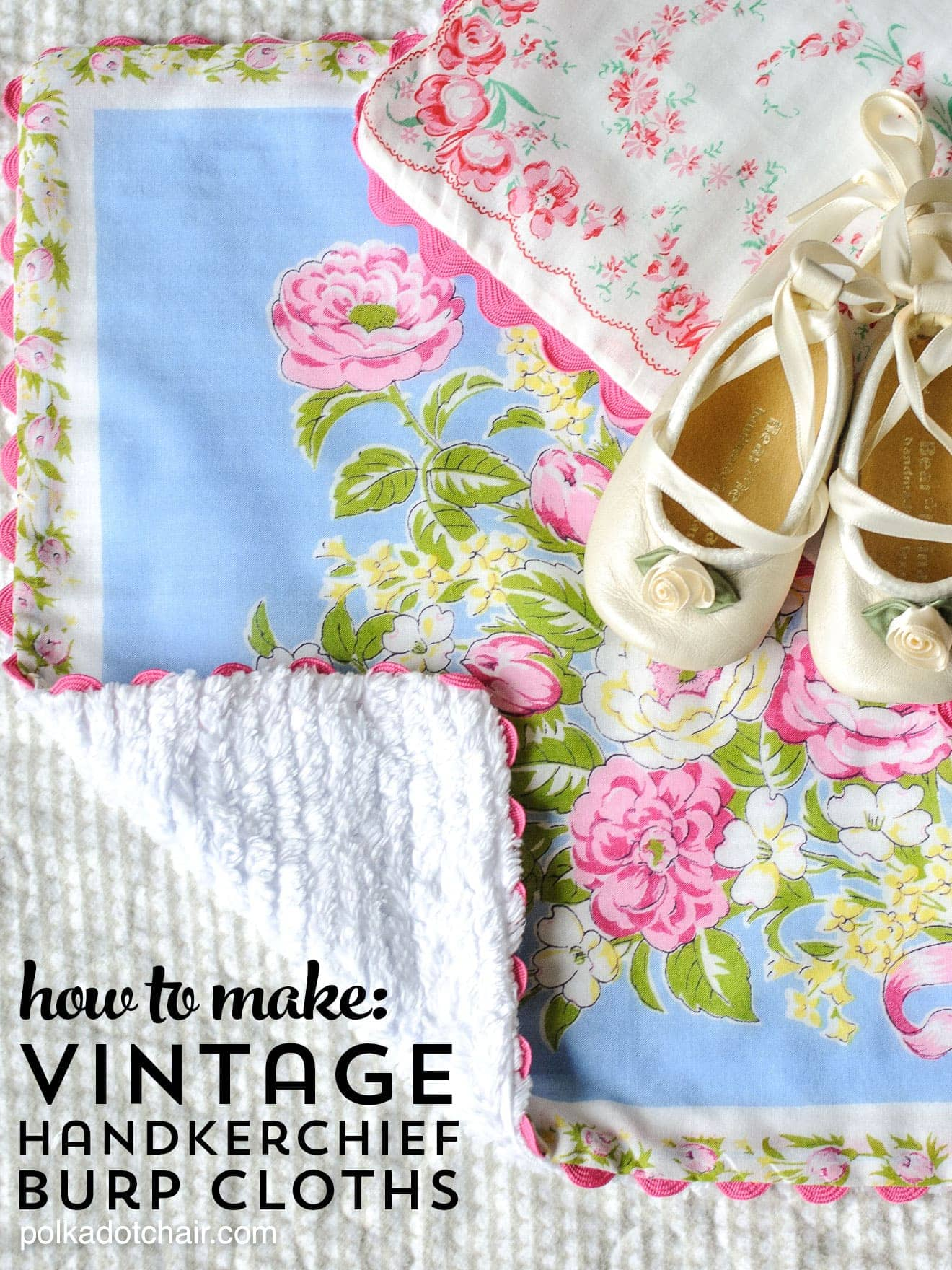 Baby Burp Cloths Made From Vintage Handkerchiefs The