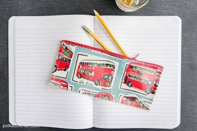 Oil cloth pencil pouch sewing pattern -clever idea for back to school or a teacher appreciation gift