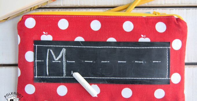 Pencil Pouch Pattern featuring a touch of Chalkboard Cloth
