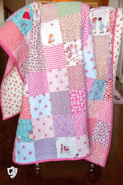 Simple Patchwork Quilt in pinks
