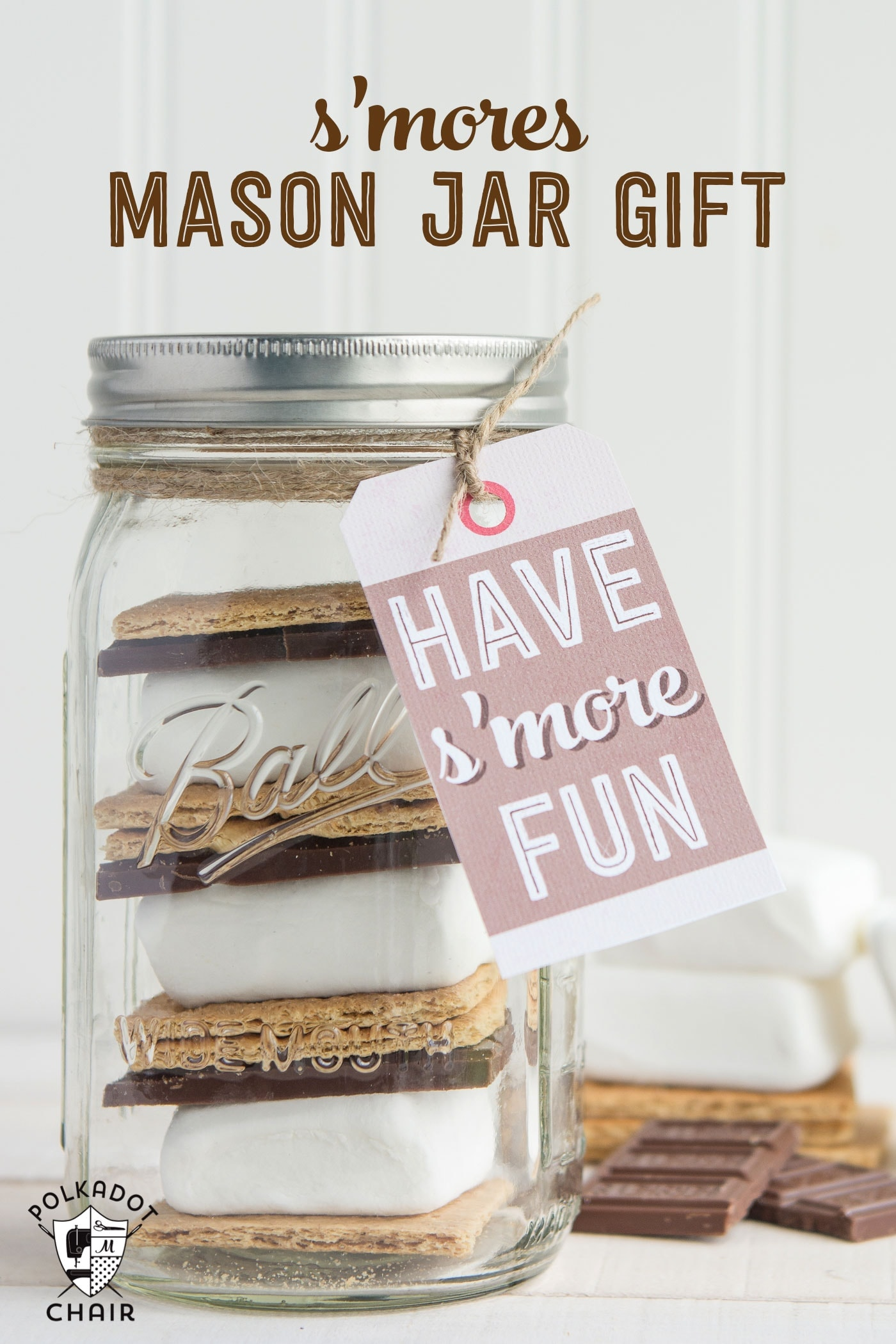 S 39 mores mason jar gift idea gift tag for Cute mason jar christmas gift ideas