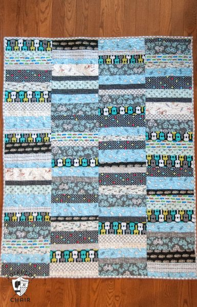 Simple Strips Quilt in blues