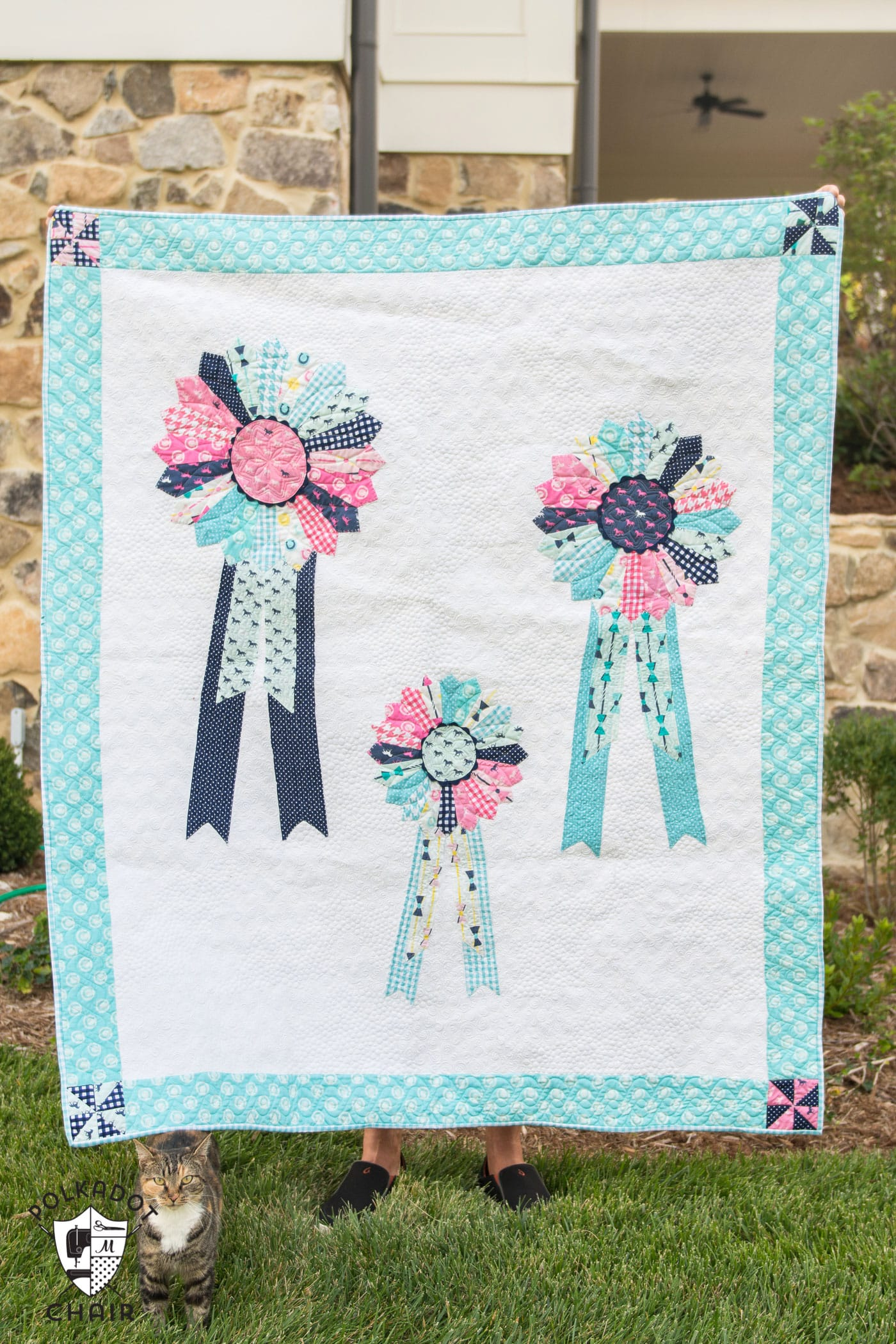 Derby Style Prize Ribbons Quilt Pattern On Polkadotchair