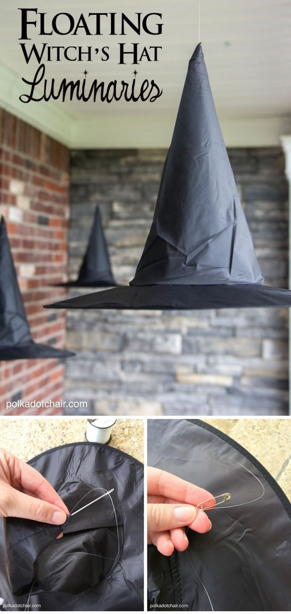 A clever decorating idea for a porch for Halloween, floating Witch's hat luminaries, they even light up at night!