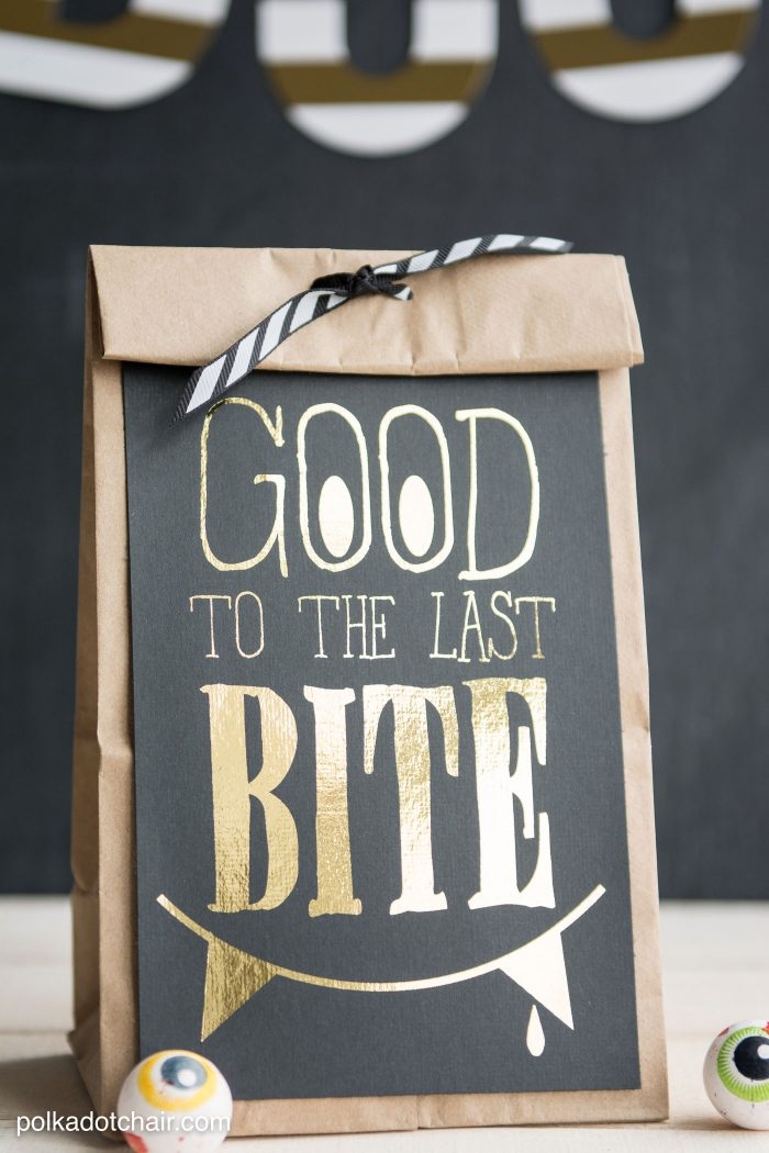 """""""Good to the Last Bite"""" DIY Halloween Treat Bags- Includes a free """"foil ready"""" printable"""