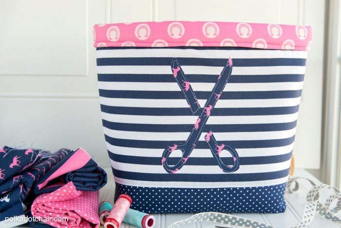 """Never Full"" Fabric Basket Sewing Tutorial by Melissa of polkadotchair.com"