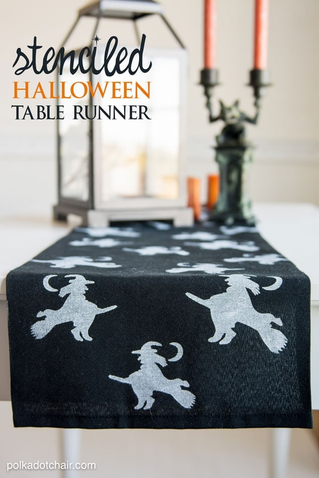 DIY Stenciled Halloween Table Runner, cute idea for Halloween Decor!