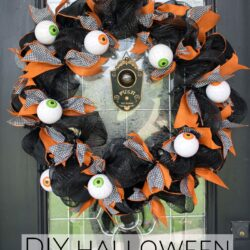 How to make a cute Halloween Eyeball wreath for your front door out of Geo Mesh and ribbon.