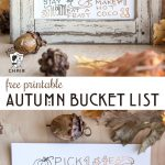 Printed out Autumn bucket lists on wood table in frame