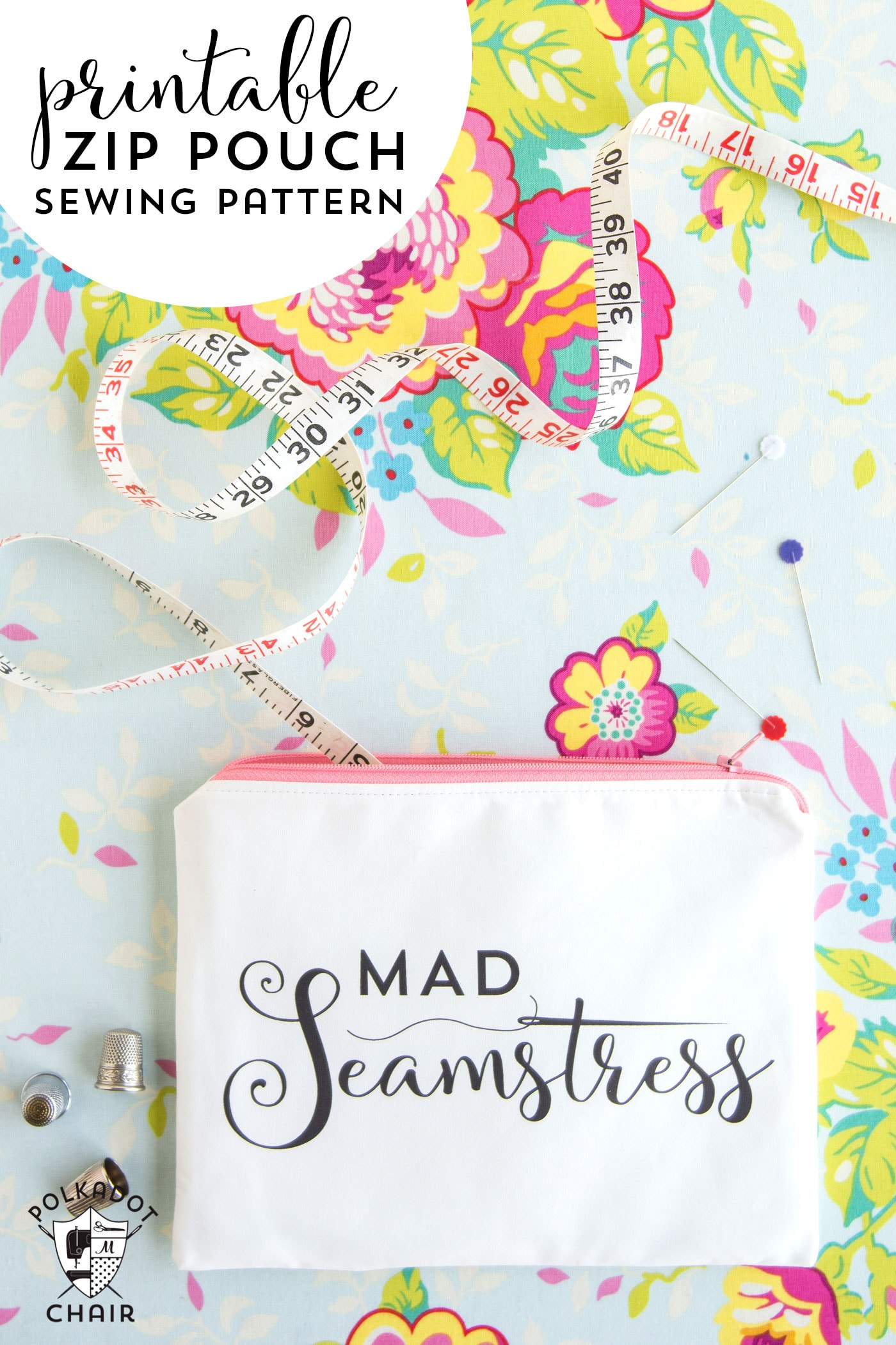 "Sewing tutorial to make this ""Mad Seamstress"" zip pouch. You can download the image and print it at home on fabric yourself!"