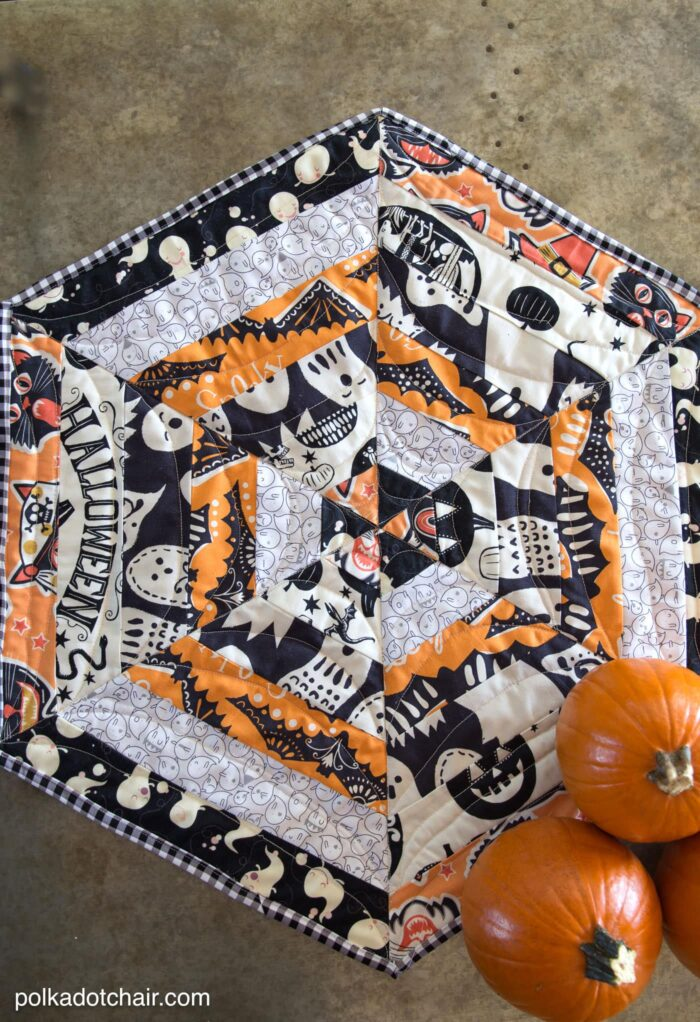 Halloween Quilted Table Topper Sewing Tutorial, so cute you could change out the fabric and use it for any Holiday!