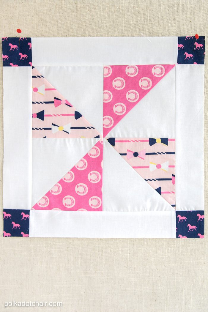 Pinwheel quilt block on linen background