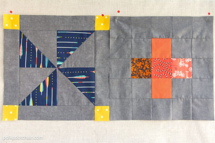 The October Quilt Block of the Month, a variation of a simple pinwheel block. Join in the block of the month series and make a quilt one month at a time.