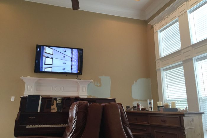 Living Room Decor Ideas, the paint color on the walls is Serene Journey by BEHR