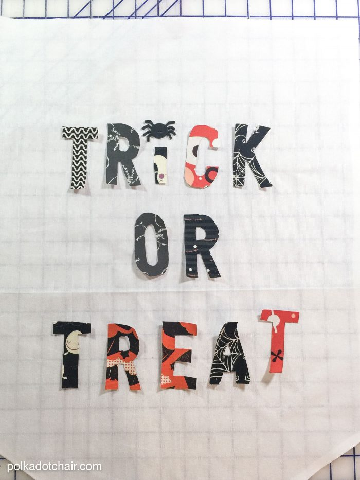 Cute Halloween Trick or Treat Fabric Banner Tutorial by Melissa of polkadotchair.com