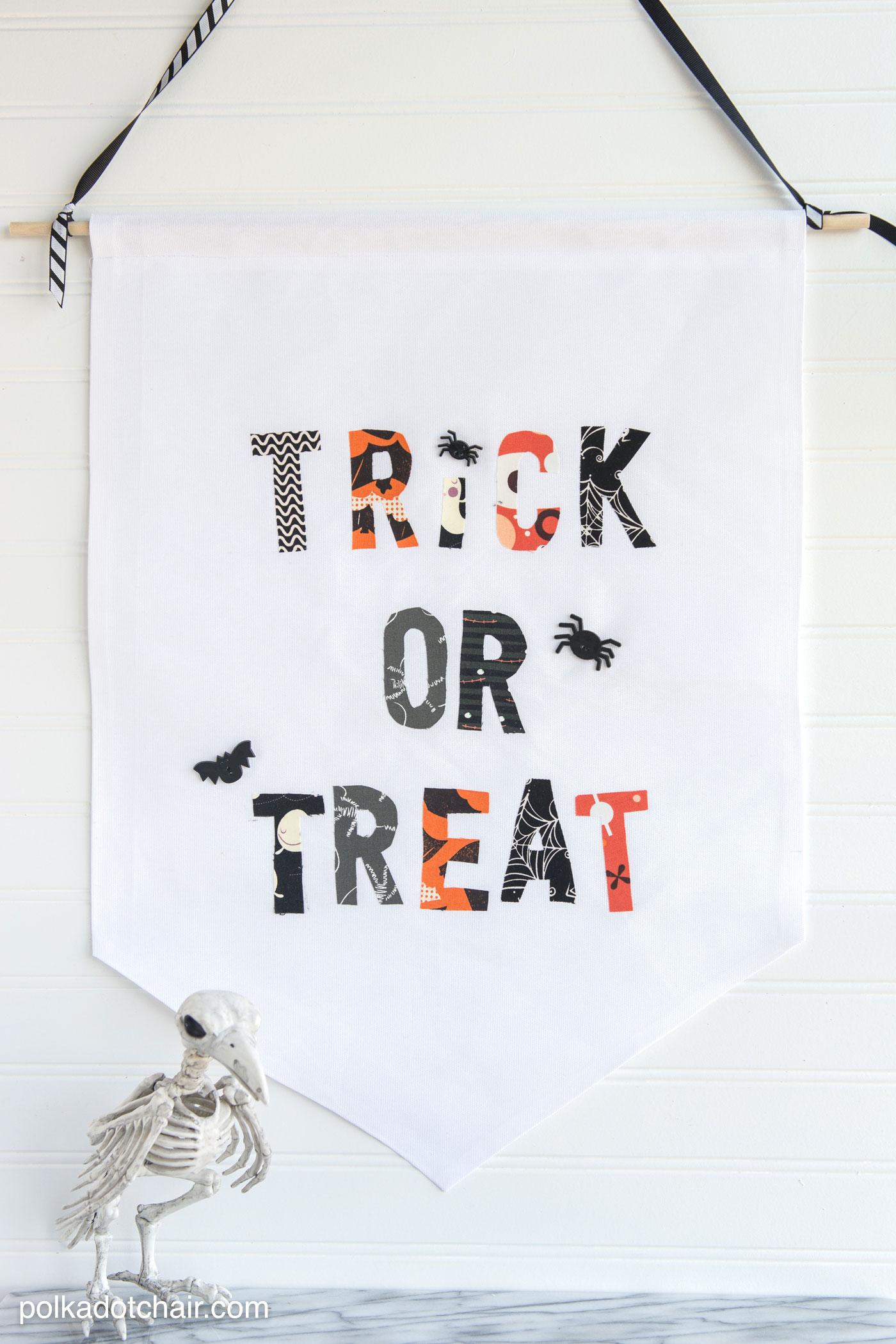 Cute Halloween Trick or Treat Fabric Banner Tutorial by Melissa of polkadotchair.com