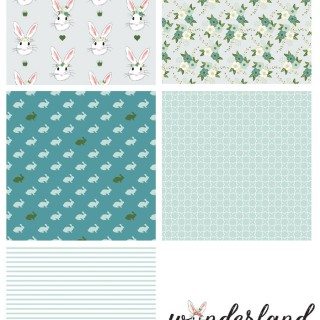 Blue Colorway of Wonderland Fabric coming in February 2016, designed by Melissa Mortenson for Riley Blake Designs -