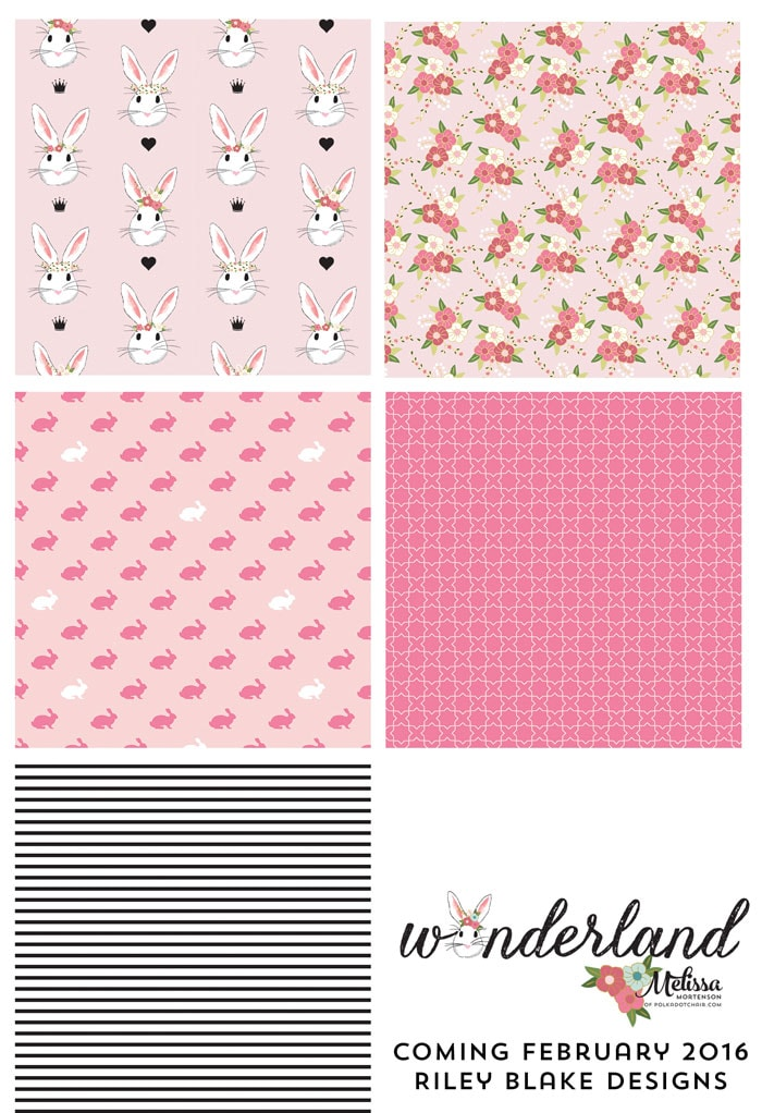 Pink Colorway of Wonderland Fabric coming in February 2016, designed by Melissa Mortenson for Riley Blake Designs -