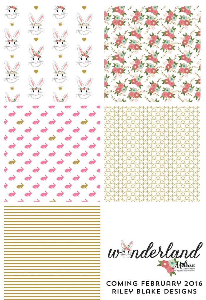 Gold Colorway of Wonderland Fabric coming in February 2016, designed by Melissa Mortenson for Riley Blake Designs -