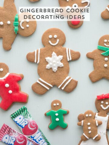 """Gingerbread Christmas Cookie Decorating Ideas, use Airheads candy to cut out """"clothes"""" and accessories for your gingerbread men"""