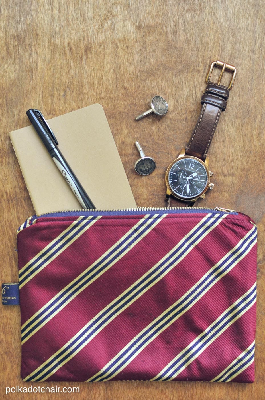 zippered pouch made from upcycled neckties a great diy gift for a guy for christmas