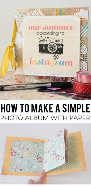 How to make a simple photo album using just paper! A great way to make a cute little scrapbook or gift of your Instagram Photos!