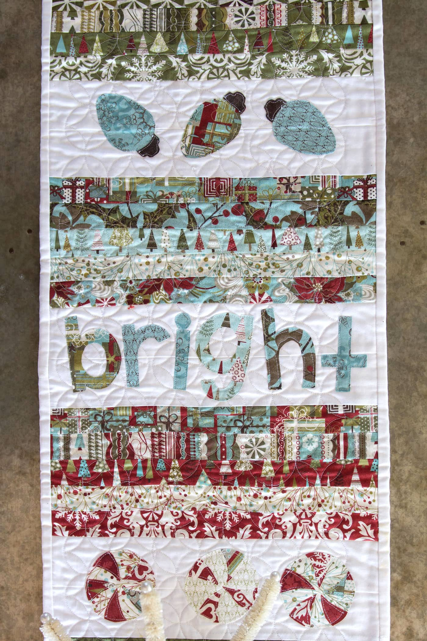 Free Printable Christmas Table Runner Quilt Patterns : Merry & Cheer Quilted Christmas Table Runner Pattern - The Polka Dot Chair